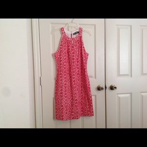 Karl Lagerfeld Red Eyelet Floral Print Dress